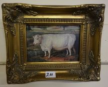 Three Reproduction Animal Portrait Pictures, Depicting two cows and a horse, all signed to lower