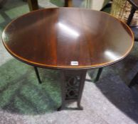 An Edwardian Mahogany Inlaid Sutherland Table, Having a D end top, raised on tapered legs with brass