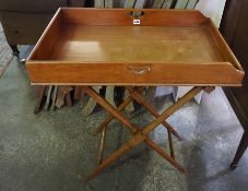 A Mahogany Butlers Tray on Folding Stand, circa 19th century, 87cm high, 76cm wide Condition