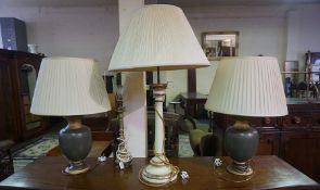 A Pair of Modern Urn Shaped Table Lamps, With shades, converted to electricity, 36cm high, also with