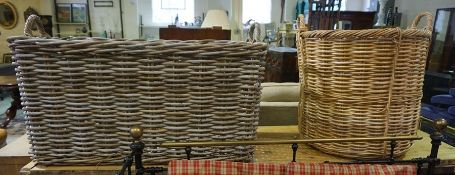 Two Wicker Laundry Baskets, 63cm x 101cm, and 66cm s 61cm, (2)