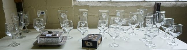 A Quantity of Masonic Related Glasses, Having a crest to the front for The Edinburgh Masonic Club,