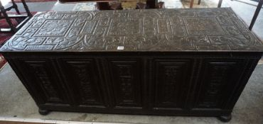 An 18th Century Style Coffer, Probably Continental, Having a hinged top, decorated with Spanish