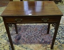 A George III Style Mahogany Side Table, circa early 19th century, Having a single drawer, raised