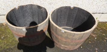 Two Half Wooden and Metal Bound Barrels, 44cm high, 64cm wide, (2)
