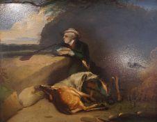 "Scottish School ""Huntsman with Dogs"" Oil on Copper Panel, circa 19th century, 19.5cm x 24.5cm,"