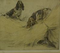"""George Vernon Stokes """"Spaniels with Birds"""" Hand Coloured Limited Edition Etching, no 51 of 75,"""