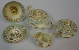 A Victorian Chinese Design Childs Tea Set by G.F.Bowers, To include tea pot, 17 pieces, with a