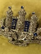 A K.O.S.B Regimental Diamond and Gemstone Brooch, For the Kings Own Scottish Borderers, modelled