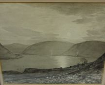 """Tom Scott RSA (Scottish 1854-1927) """"The Old Churchyard St Marys Loch Selkirkshire"""" Grisaille, signed"""