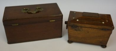 A Regency Rosewood Tea Caddy, circa early 19th century, Enclosing covers, wooden ring handles,