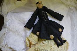 A Quantity of Linen, Also with a vintage cloth doll, (2 boxes)