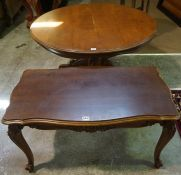 A Victorian Style Coffee Table, Having a circular top, raised on a baluster column and quadrapartite