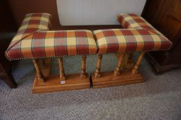 An Oak Framed Two Part Club Fender, 20th century, Upholstered in checked fabric, 48cm high, 48cm