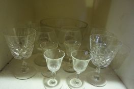 A Quantity of Crystal and Glass, To include crystal and hock glasses etc, approximately 30 pieces in