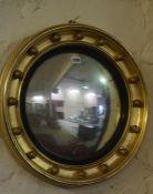A Regency Style Gilt Convex Wall Mirror, 50cm diameter