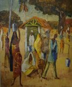 """Countimon? (African) """"Figures in Village Scene"""" Oil on Board, signed indistinctly and dated 1960"""