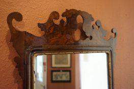 A Regency Style Walnut Fretwork Wall Mirror, 80cm high, 46cm wide
