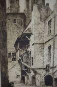 "Charles H Clark (British B 1890) ""Riddell,s Court"" ""Bakehouse Close"" Two Etchings of Edinburgh,"