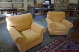 A Modern Four Piece Lounge Suite, Comprising of a three seater sofa and three armchairs, upholstered