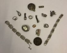 A Mixed Lot of Silver and White Metal Jewellery, To include a Continental silver flexible