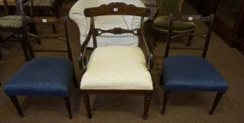 A Regency Style Mahogany Carver Armchair, circa 19th century, Having a later upholstered stuffover