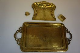 A Quantity of Brass, To include assorted horse brasses, an Arts and Crafts crumb tray, an Indian