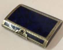 A Silver and Lapiz Lazuli Style Box, circa 1920s, probably Continental, having a hinged top,