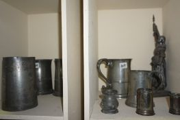 A Quantity of Antique and Later Brass, Copper and Pewter, To include pewter tankards, a copper