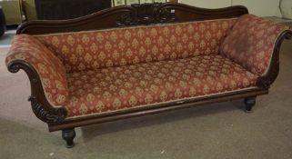 A Victorian Mahogany Scroll End Sofa, Upholstered in later floral fabric, 97cm high, 228cm wide,