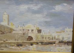 """J F Shaw """"North African Harbour"""" Oil on Board, signed to lower left, 24cm x 34cm, in an ebonised"""