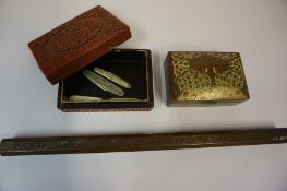 A Mixed Lot of Collectables, To include an Oriental cinnabar style box, a brass and enamelled box,