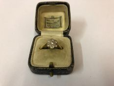 A Ladies 18ct Gold Diamond Cluster Ring, Set with seven small diamonds, stamped 18ct, overall weight