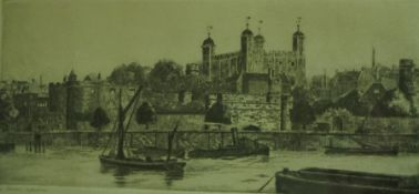 """J.H.Wiley """"The Tower London"""" Etching, 10cm x 22.5cm, signed in pencil, also with five other"""