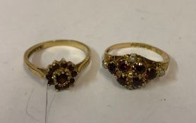 A 9ct Gold Ruby and Seed Pearl Ring, circa early 20th century, Set with six small rubies and four