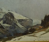 """Continental School """"Mountain Lanscape"""" Oil on Canvas, signed indistinctly to lower right, 50cm x"""