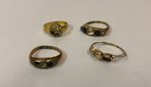 Four Ladies 9ct Gold Rings, Victorian and later, overall weight 6.1 grams, (4)