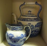 A Quantity of Copeland Spode Italian Lake Pattern China, To include a tea kettle, milk jug,