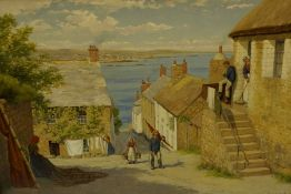 """John Mulcaster Carrick (British 1883-1896) """"Newlyn with Figures and Cottages to the Foreground"""""""