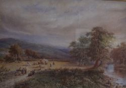 """British School """"Country Scene with Figures"""" Watercolour, circa late 19th / early 20th century,"""