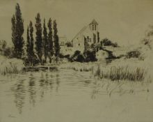 """John Cameron """"Montigny-Sur-Loing"""" Etching, signed in pencil, 21.5cm x 27.5cm, having a label for"""