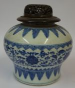 A Chinese Kangxi Style Blue and White Pottery Vase, Having a reticulated hardwood cover, Decorated