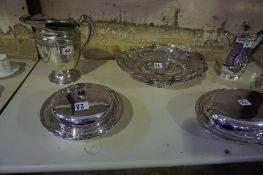 A Mixed Lot of Silver Plated Wares, To include a large jug, a four piece tea service, a Victorian