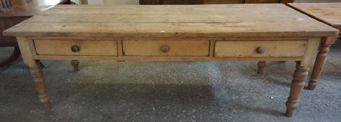 A Large Victorian Pine Partners Farmhouse Table, Having a rectangular plank top, with three