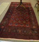 A Bluch Carpet, Decorated with allover floral and geometric motifs, on a red ground, 310cm x 170cm