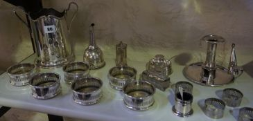 A Quantity of Silver Plated Wares, To include a bottle holder, a set of six bottle slides /
