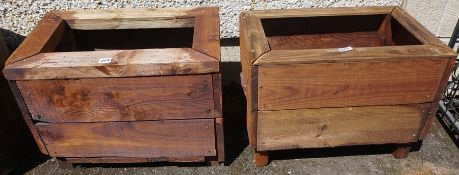 Two Wooden Outside Planters, Both of square form, having an open top, 40cm high, 56cm wide, 37cm