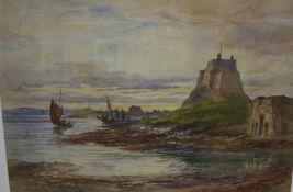 "Alex Ballingall RSA (Scottish 1854-1927) ""Lindisfarne Castle Holy Island"" Watercolour, signed and"