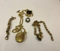 A Mixed Lot of Gold and Yellow Metal Jewellery, To include a box link chain, also with a yellow