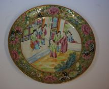 Twelve Canton Famille Rose Plates, Decorated with panels of figures, with panels of butterflies